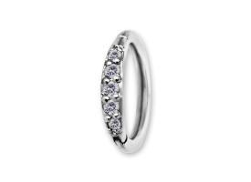 NF CoCr Scallop Jewelled Hinged Ring