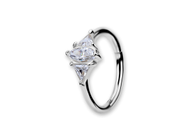 NF CoCr Lozenge Jewelled Hinged Ring