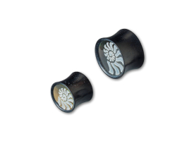 Iron Wood Plug with Shell Spiral Inlay