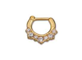 PVD Gold Steel Hinged Jewelled Septum Ring - style 1