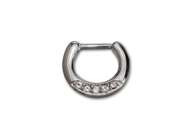 Steel Hinged Jewelled Septum Ring - style 3