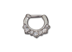 Steel Hinged Jewelled Septum Ring - style 1