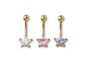 PVD Gold CZ Set Star Navel Barbell