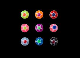 Acrylic Screw on Glitter Star Ball