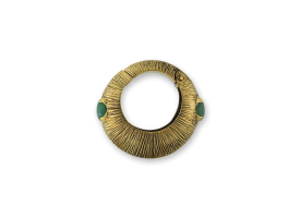 Brass Hinged Ear Weight with stone - Green Jade