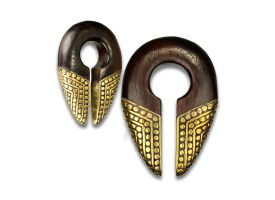 Brass and Wood Ear Weight - Style 6