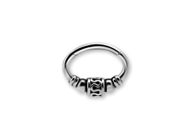 Steel Ethnic Oval Hinged Ring - Style 2