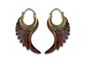 Brass and Wood Earring - Style 1