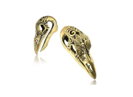 Brass Ear Weight - Carved Bird Skull