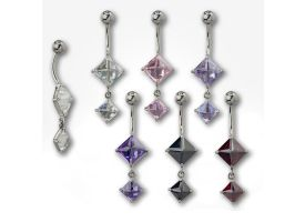 Steel Dangle Pyramid CZ Set Navel Barbell