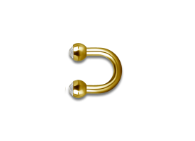 PVD Gold Steel 'U' Shaped Jewelled Barbell