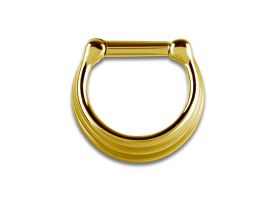 PVD Gold Steel Septum Clicker 3-Rings