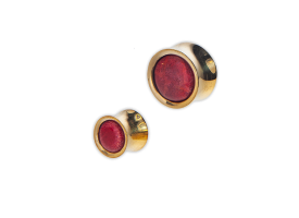Brass Red Shell Inlay Earplug