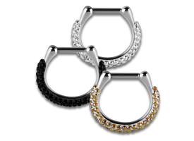 Steel Hinged Jewelled Septum Ring - style 4