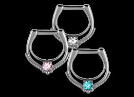 Steel Hinged Jewelled Septum Ring - style 5