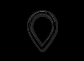 PVD Black Steel V-shape Hinged Ring - 1.2 x 8