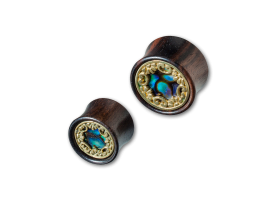 Arang Wood Plug with Brass and Mother of Pearl Inlay