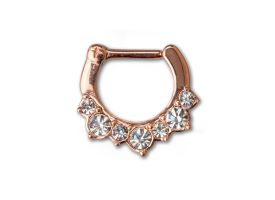 PVD Rose Gold Steel Hinged Jewelled Septum Ring - style 1