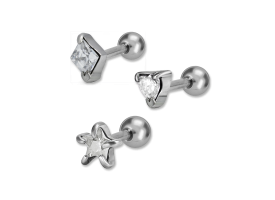 Steel Jewelled Prong Set Tragus Barbell