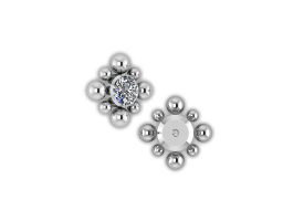 Titanium Int. Thr. Jewelled Cluster - Style 7