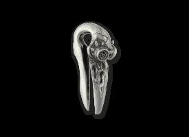 White Brass Ear Weight - Steampunk Bird Skull